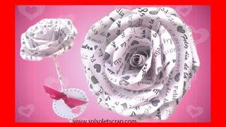 flor rosa de papel periódico personalizada para regalo día de la madre